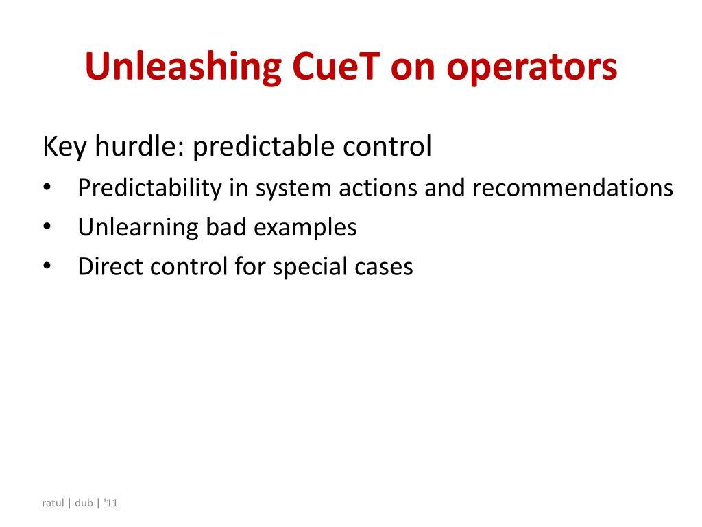 Unleashing CueT on operators