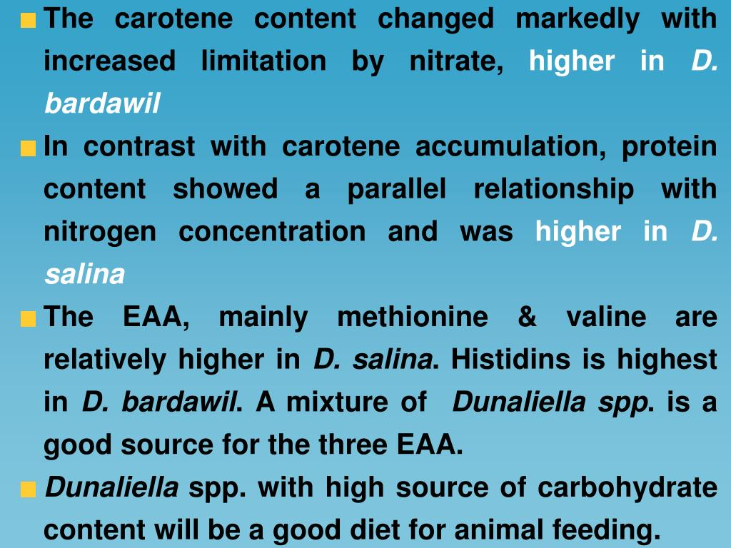 The carotene content changed markedly with increased limitation by nitrate,