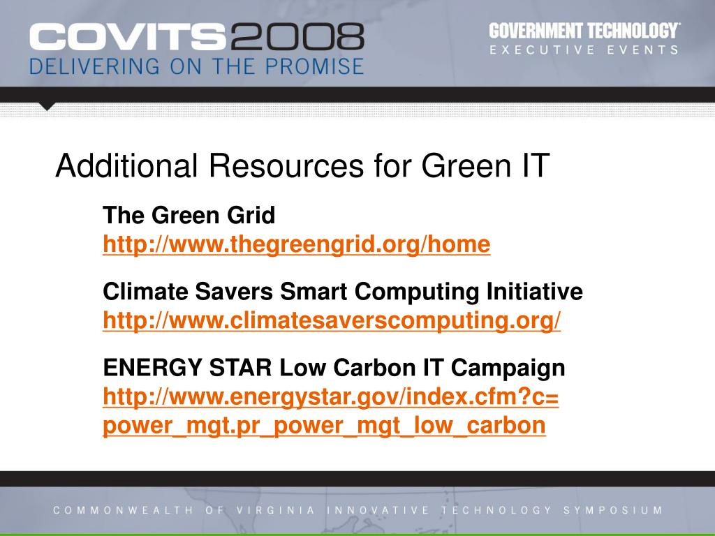 Additional Resources for Green IT