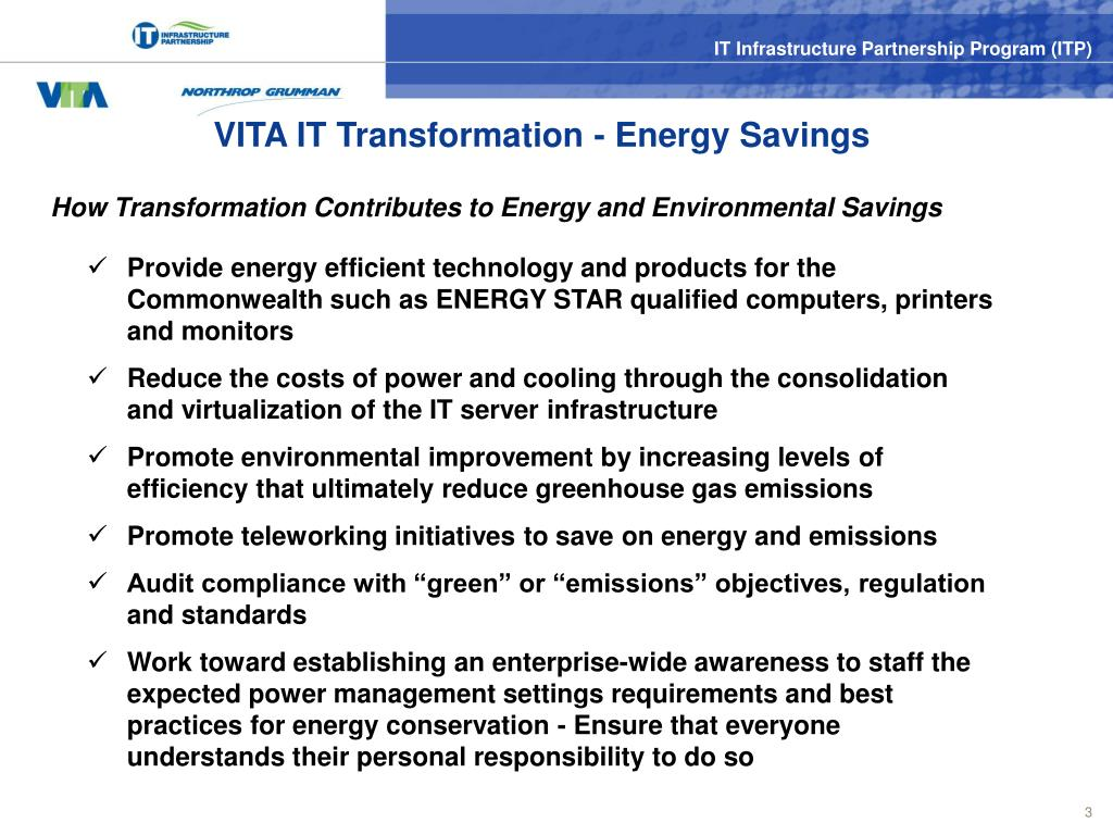 VITA IT Transformation - Energy Savings