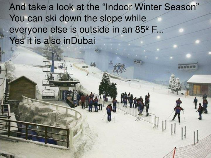 "And take a look at the ""Indoor Winter Season"" You can ski down the slope while"