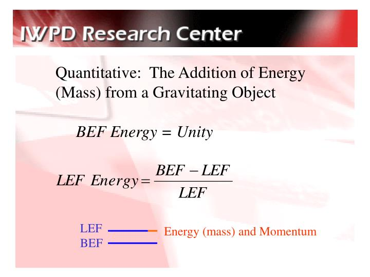 Quantitative:  The Addition of Energy (Mass) from a Gravitating Object