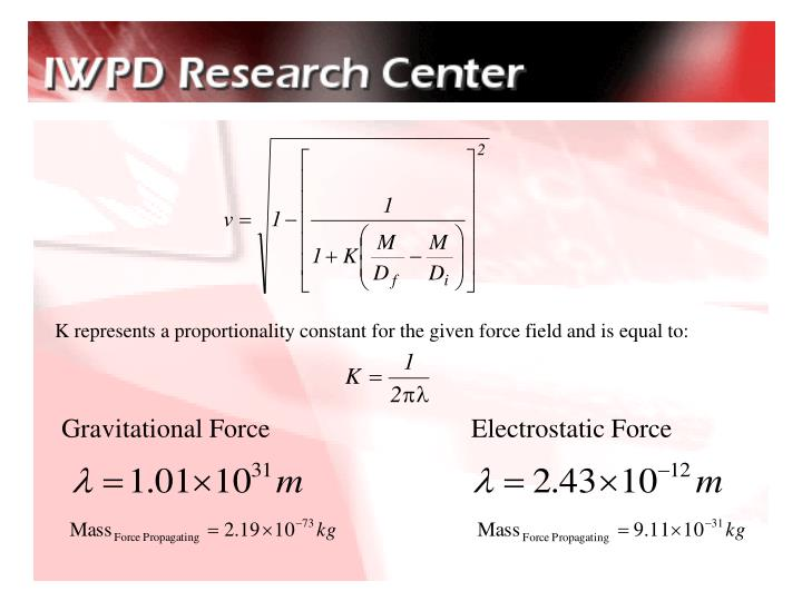 K represents a proportionality constant for the given force field and is equal to: