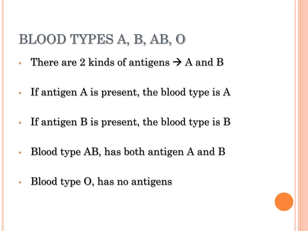 BLOOD TYPES A, B, AB, O