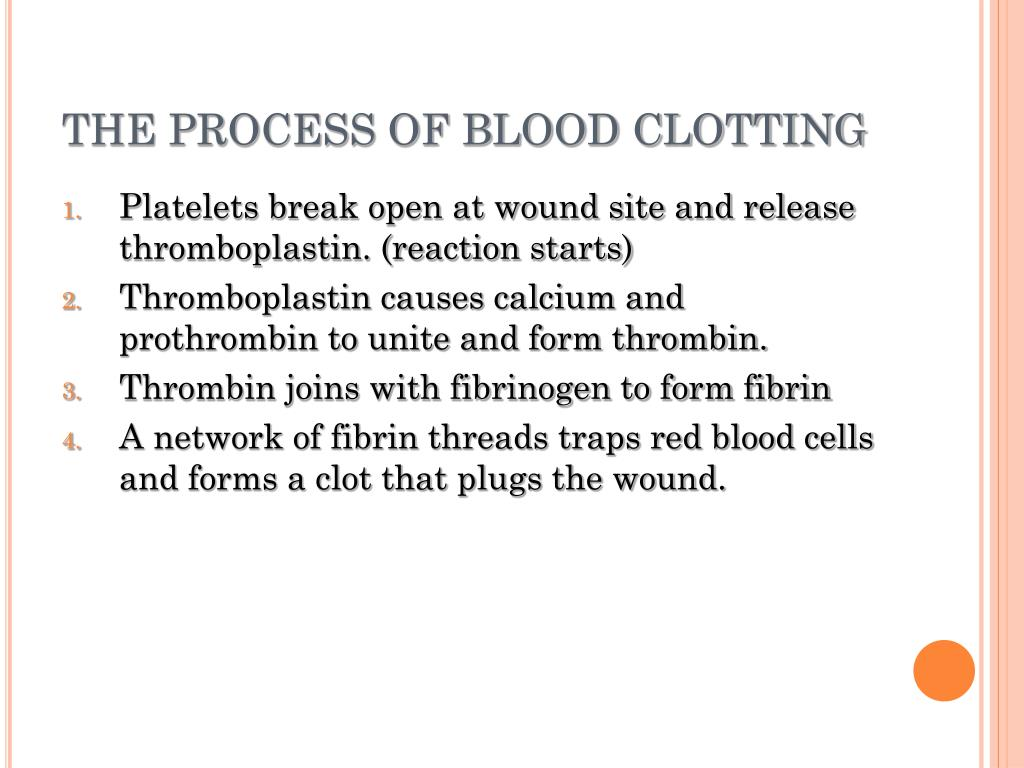 THE PROCESS OF BLOOD CLOTTING