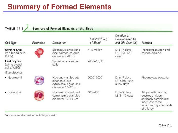 Summary of Formed Elements