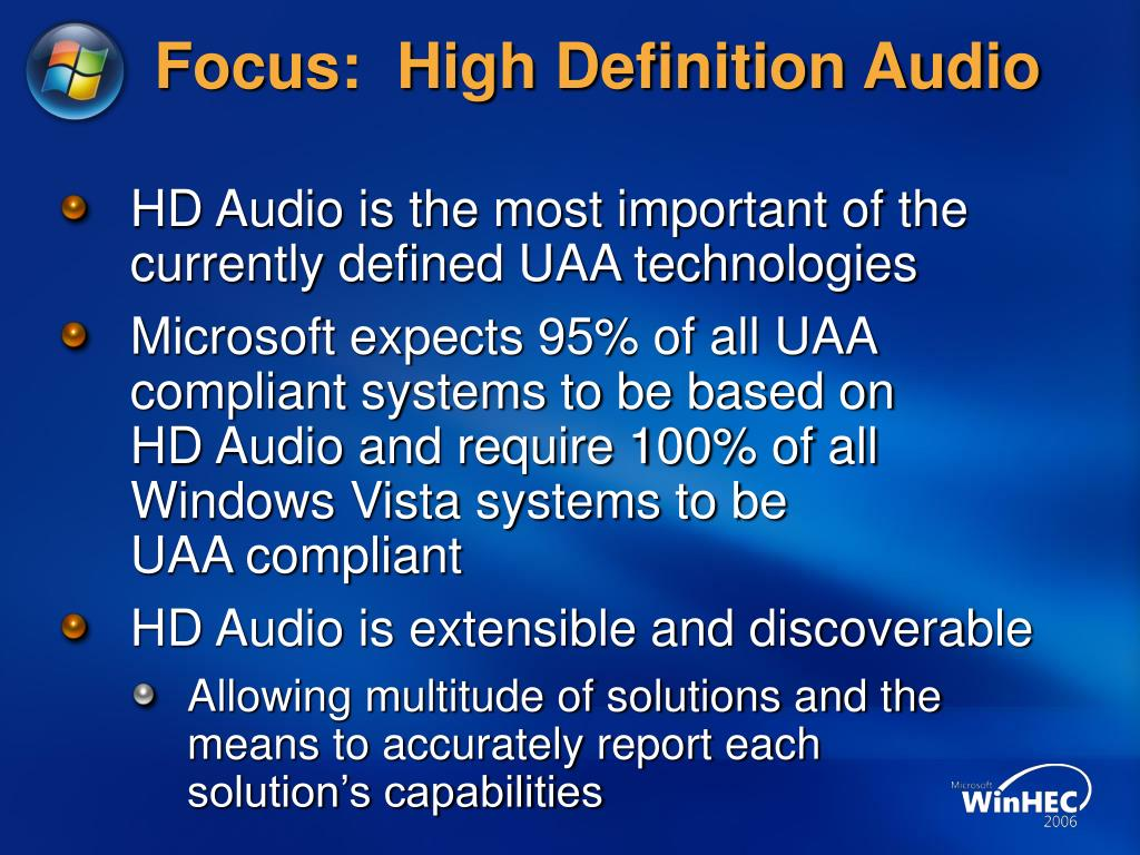Focus:  High Definition Audio