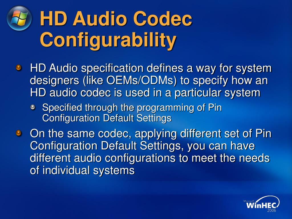 HD Audio Codec Configurability