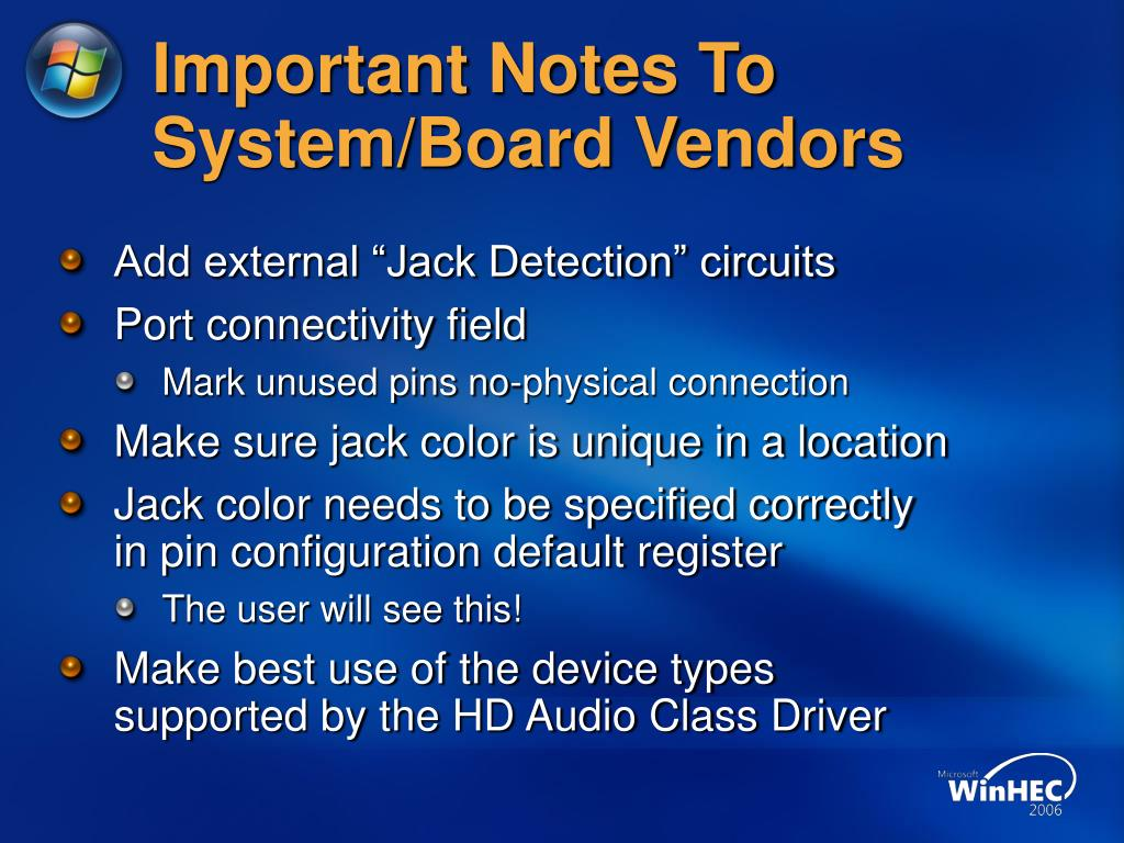 Important Notes To System/Board Vendors