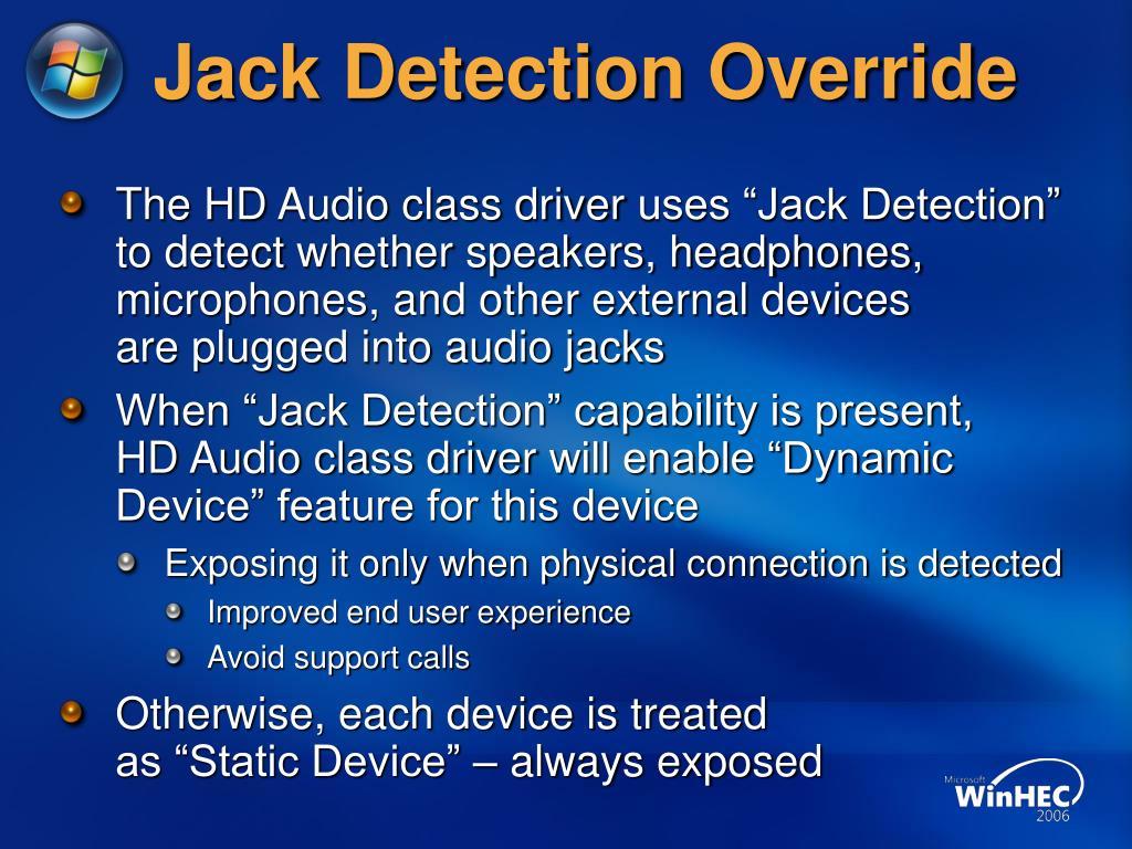 Jack Detection Override