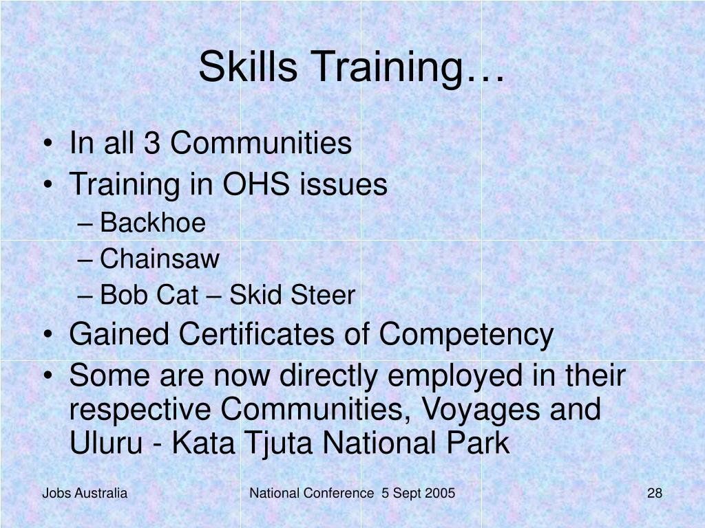 Skills Training…