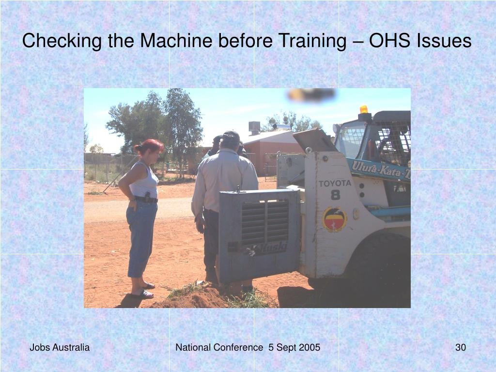 Checking the Machine before Training – OHS Issues