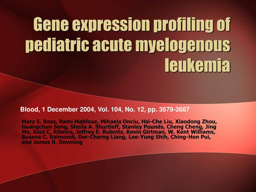 Gene expression profiling of pediatric acute myelogenous leukemia
