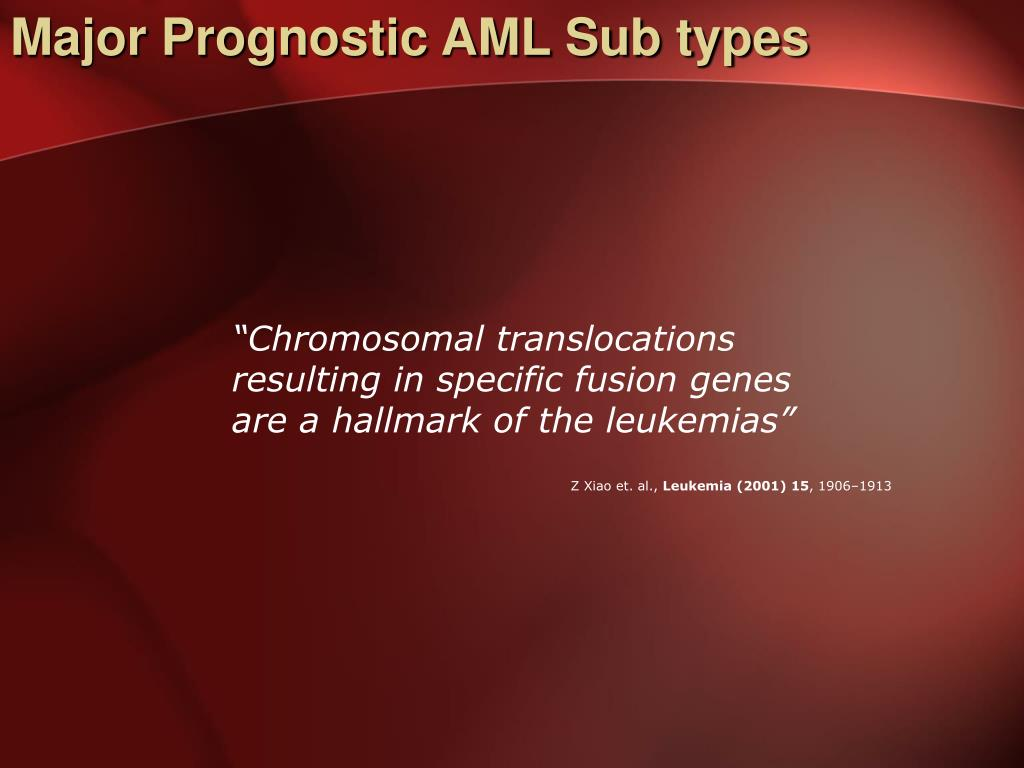 Major Prognostic AML Sub types