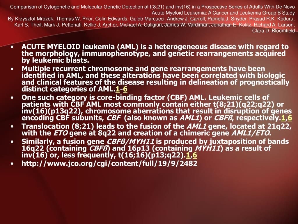 Comparison of Cytogenetic and Molecular Genetic Detection of t(8;21) and inv(16) in a Prospective Series of Adults With De Novo Acute Myeloid Leukemia: A Cancer and Leukemia Group B Study