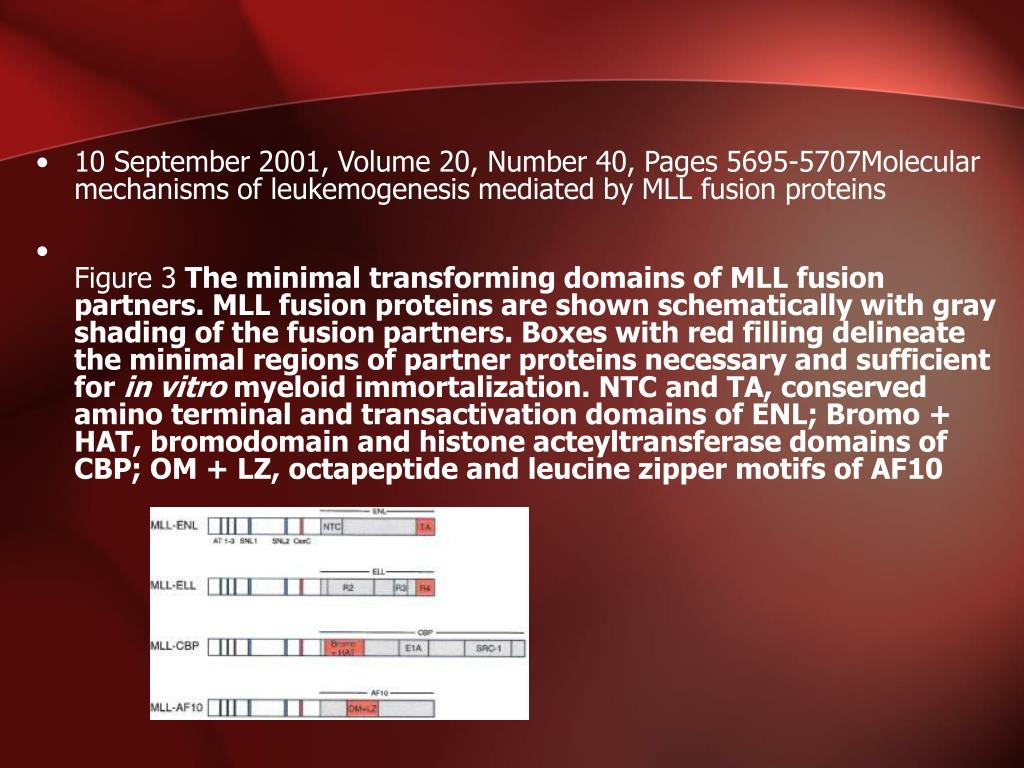 10 September 2001, Volume 20, Number 40, Pages 5695-5707Molecular mechanisms of leukemogenesis mediated by MLL fusion proteins