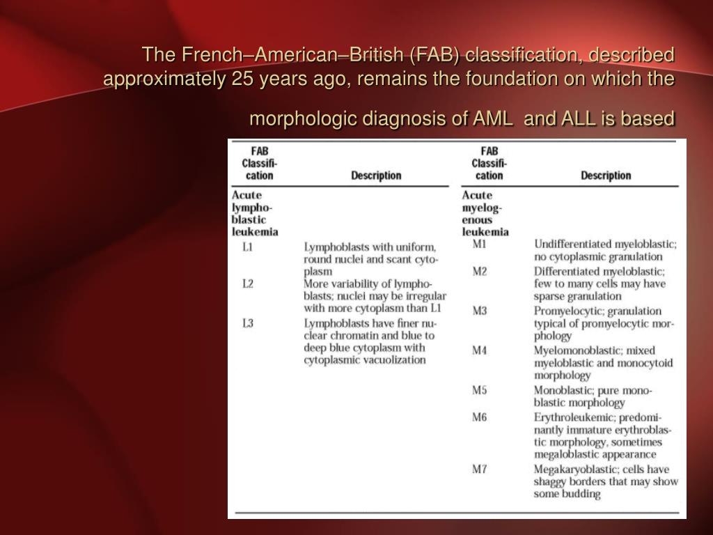 The French–American–British (FAB) classification, described approximately 25 years ago, remains the foundation on which the