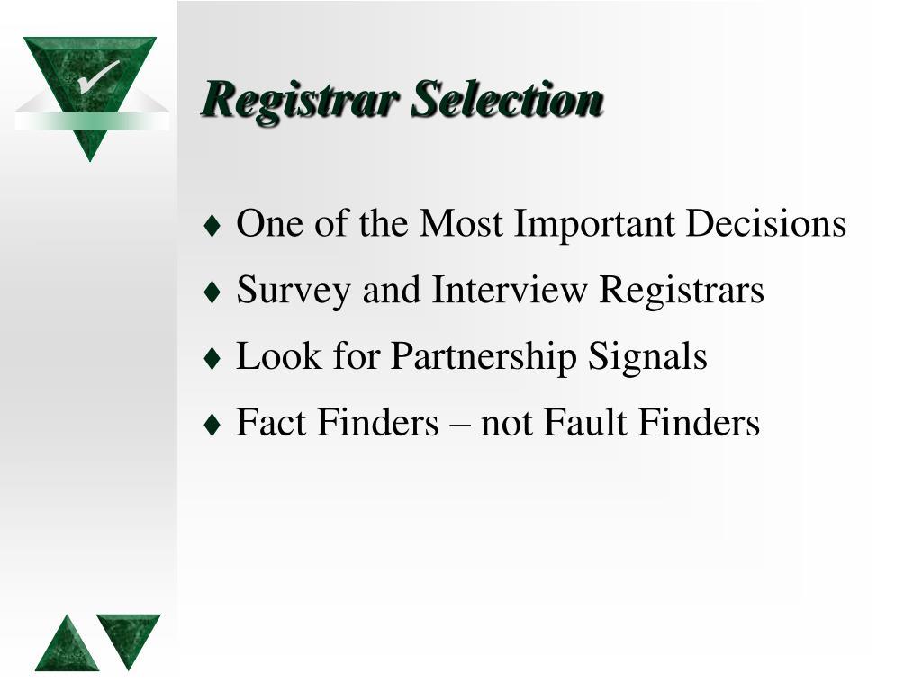 Registrar Selection
