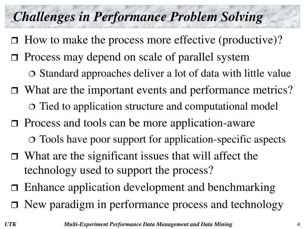Challenges in Performance Problem Solving