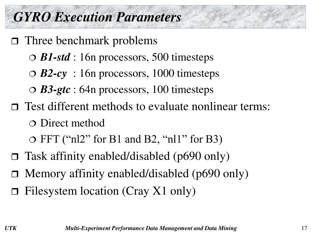 GYRO Execution Parameters