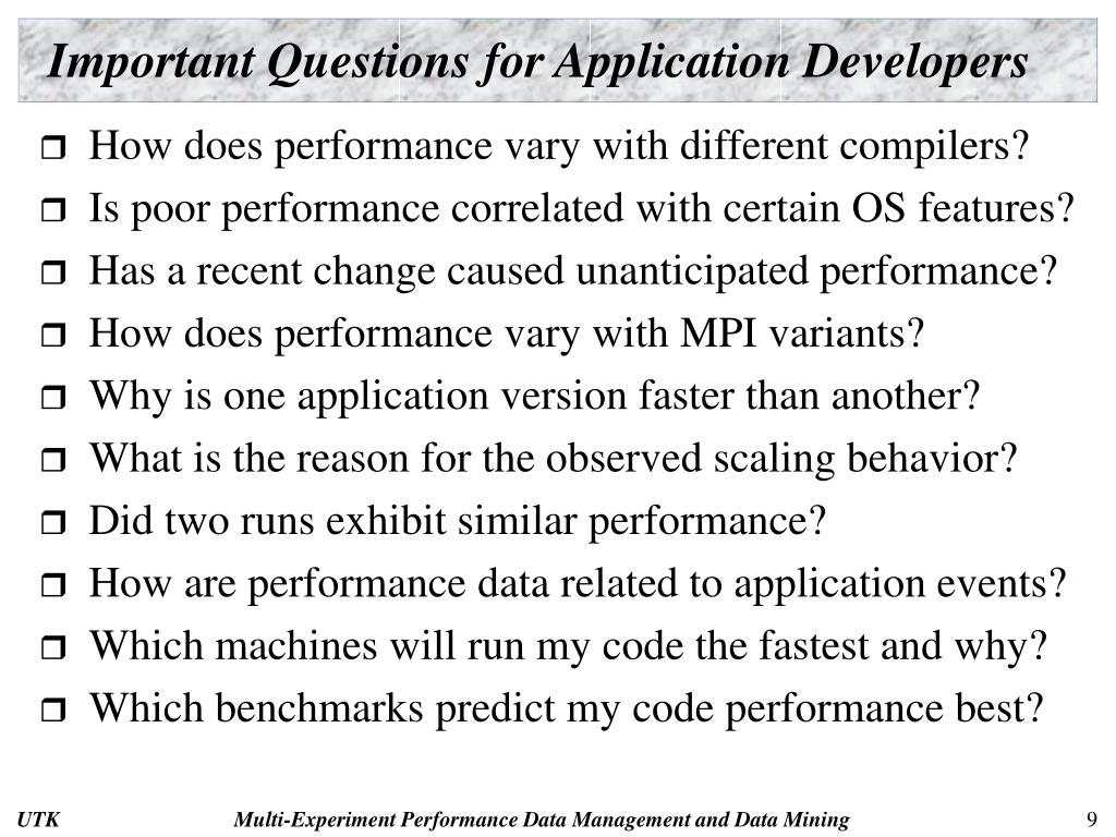 Important Questions for Application Developers
