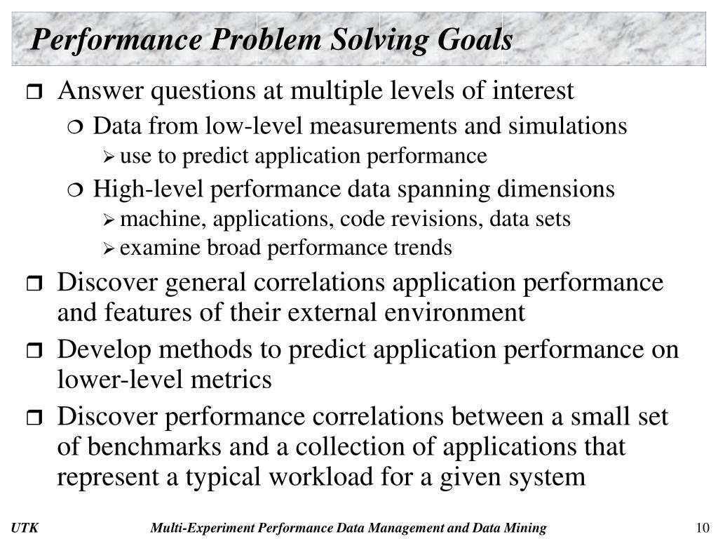 Performance Problem Solving Goals