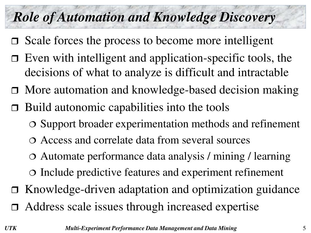 Role of Automation and Knowledge Discovery
