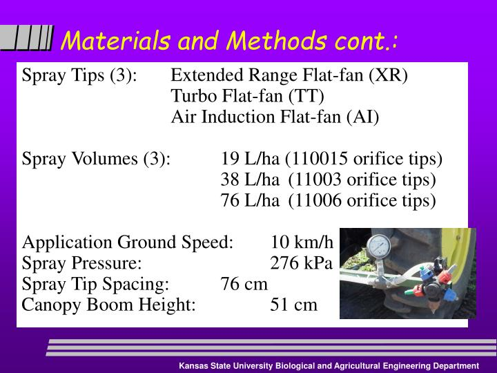 Materials and Methods cont.: