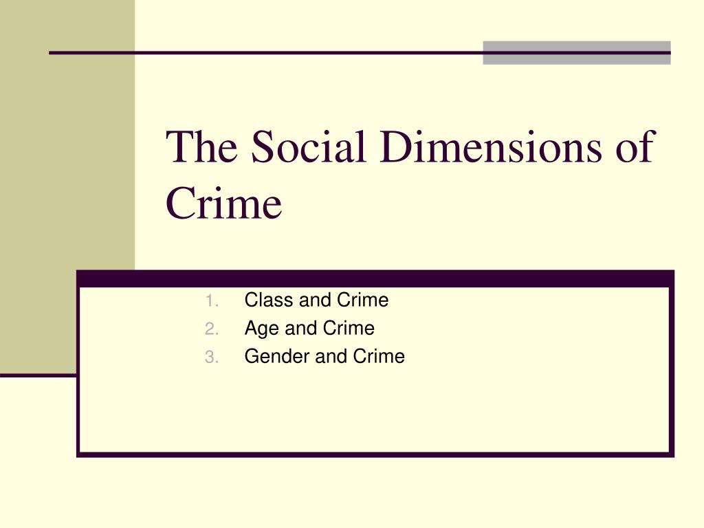 The Social Dimensions of Crime