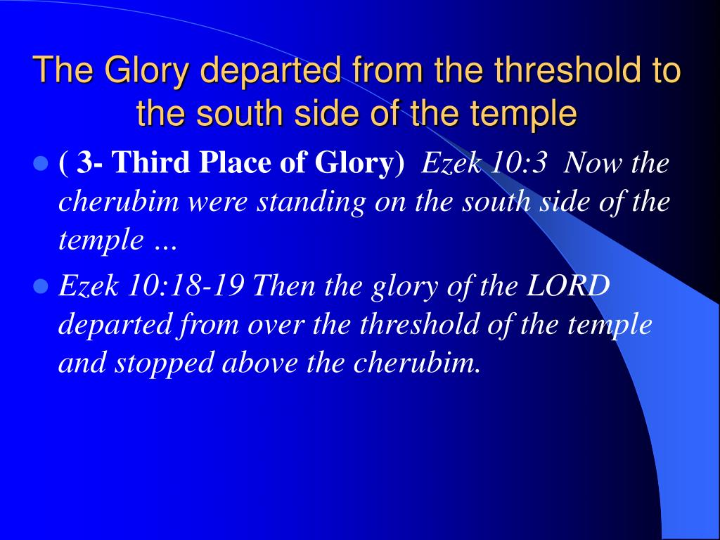The Glory departed from the threshold to the south side of the temple
