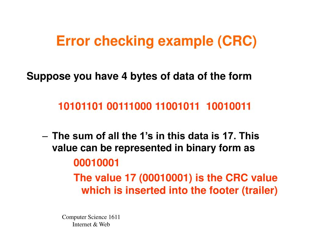 Error checking example (CRC)