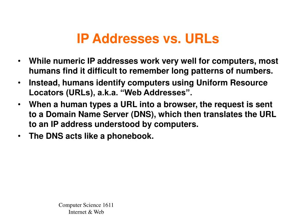 IP Addresses vs. URLs