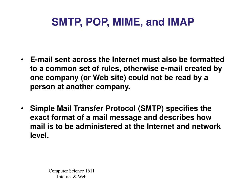 SMTP, POP, MIME, and IMAP