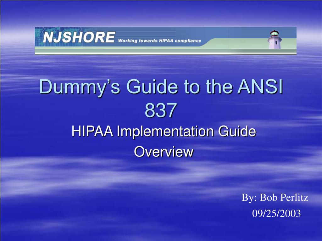 dummy s guide to the ansi 837