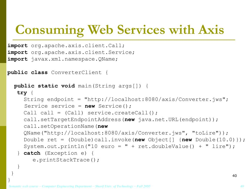 Consuming Web Services with Axis
