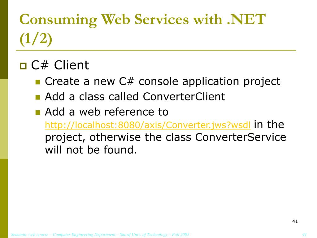 Consuming Web Services with .NET (1/2)