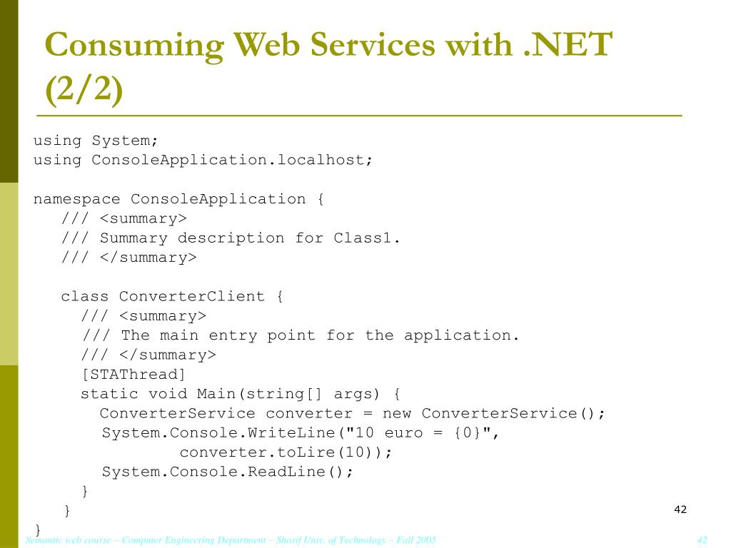 Consuming Web Services with .NET (2/2)