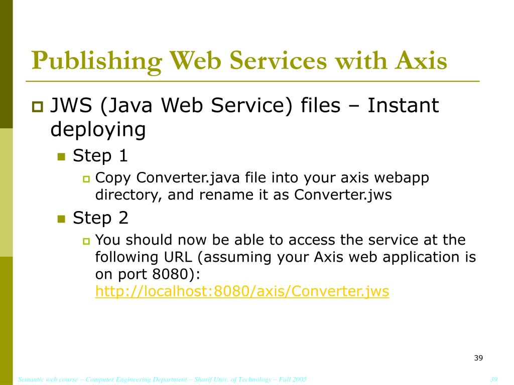 Publishing Web Services with Axis