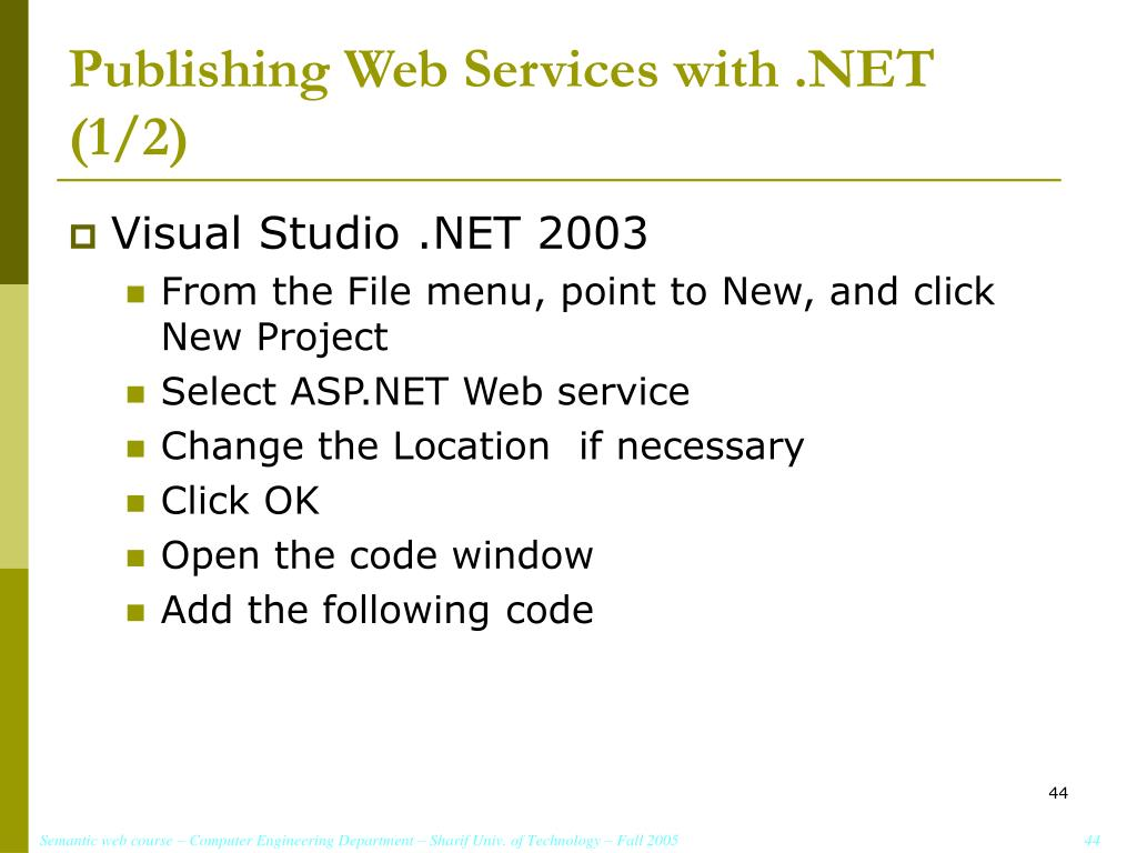 Publishing Web Services with .NET (1/2)