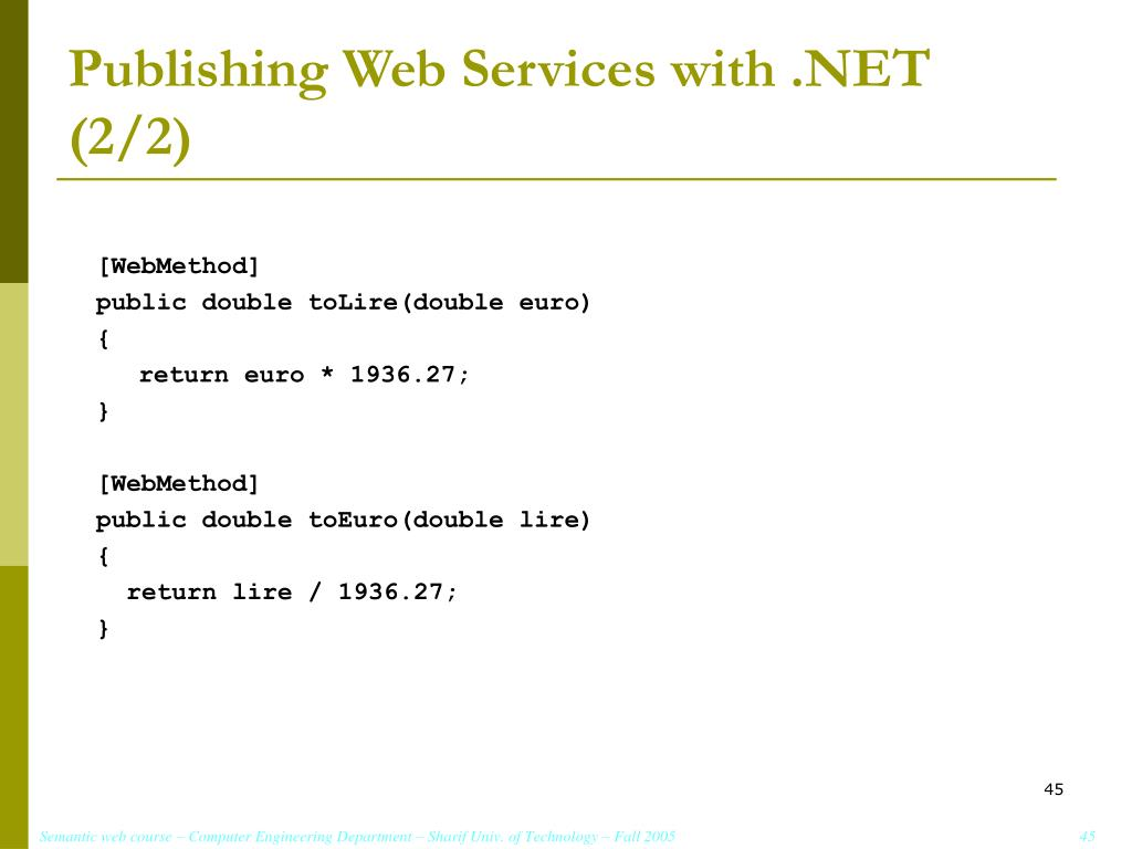 Publishing Web Services with .NET (2/2)