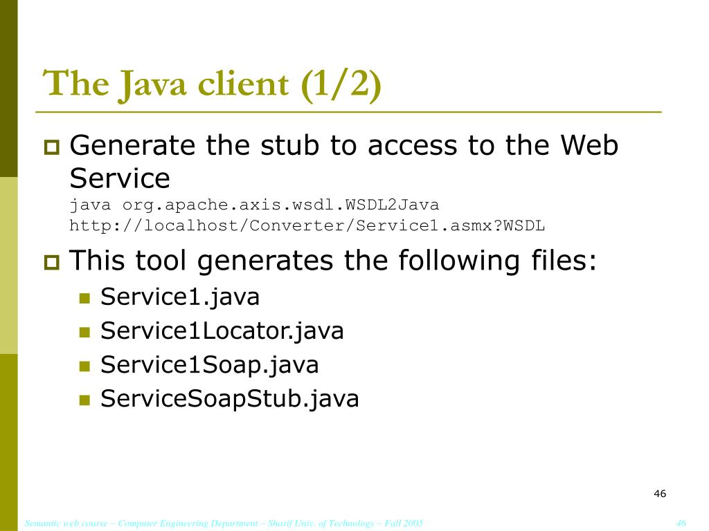 The Java client (1/2)