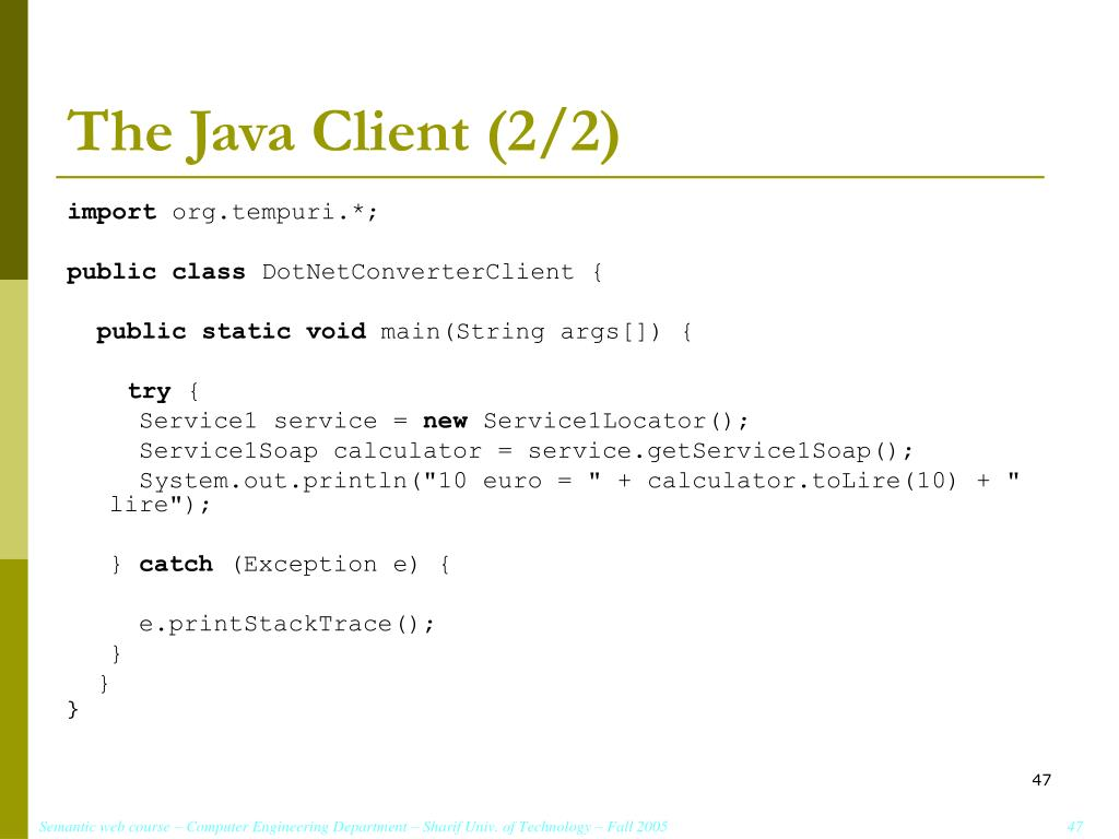 The Java Client (2/2)