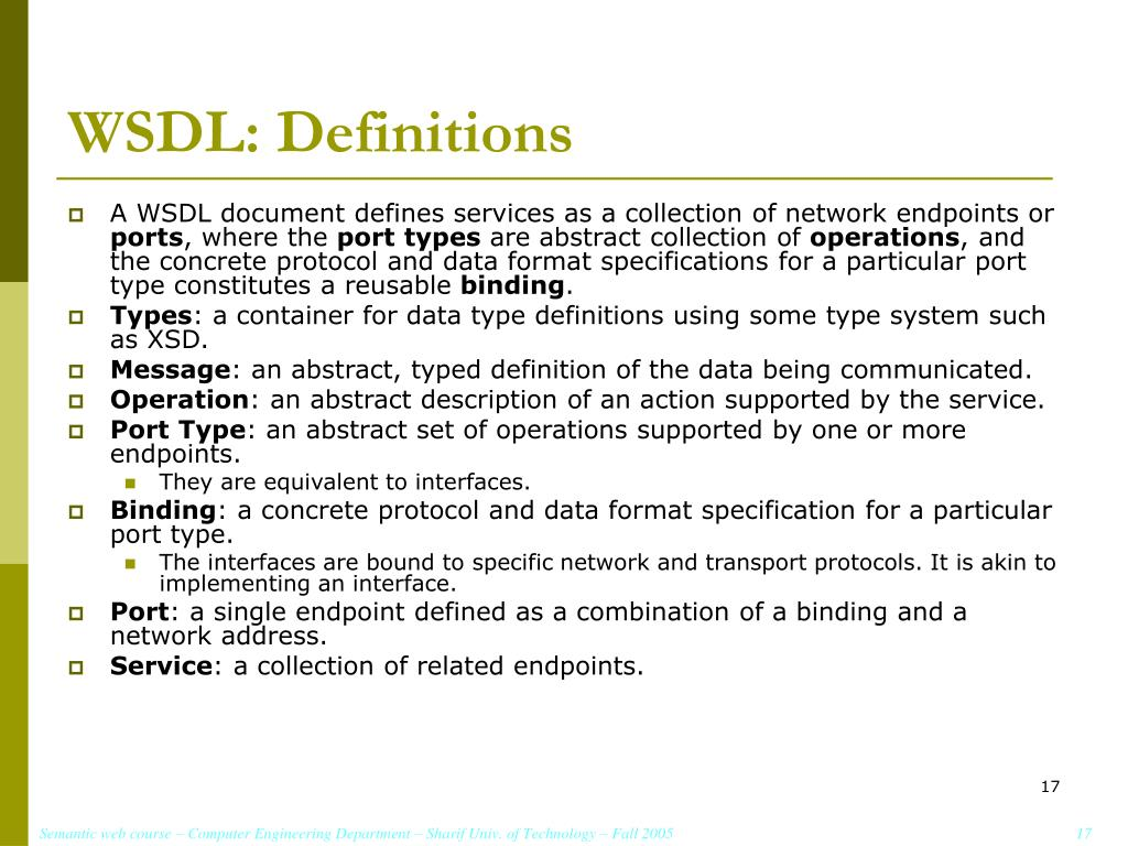 WSDL: Definitions