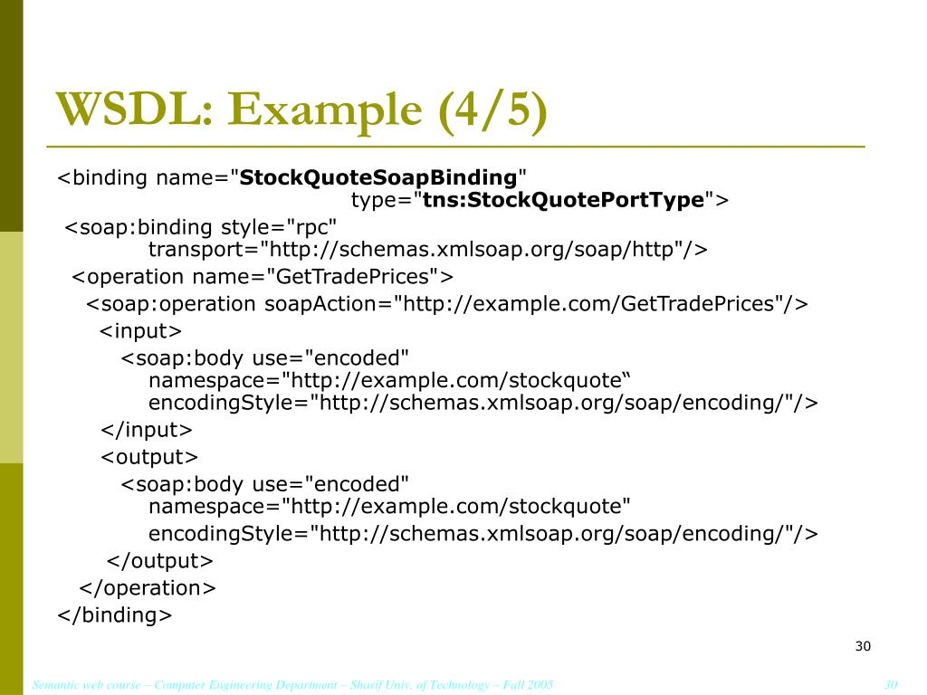 WSDL: Example (4/5)