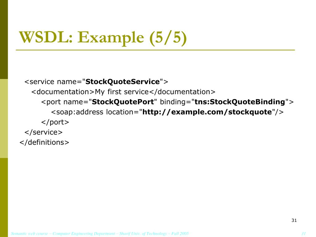 WSDL: Example (5/5)