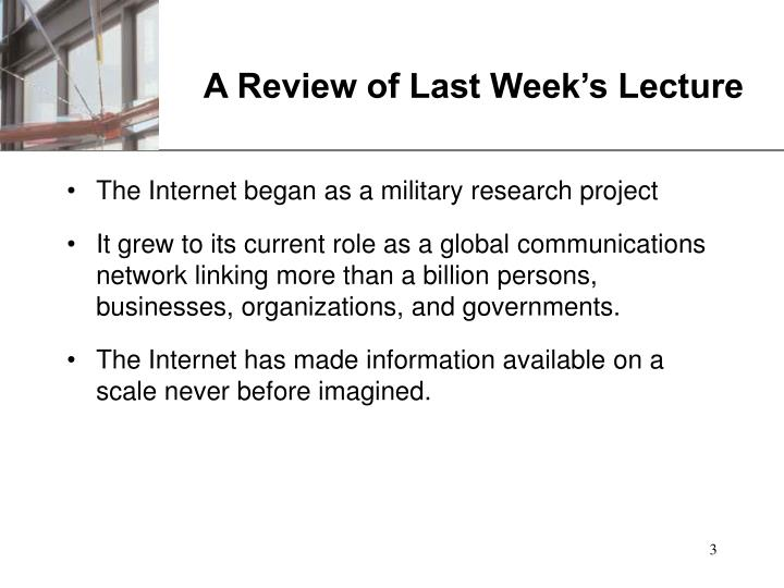A review of last week s lecture
