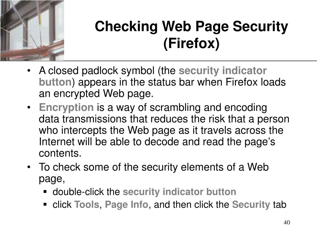 Checking Web Page Security (Firefox)