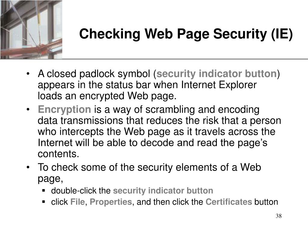 Checking Web Page Security (IE)