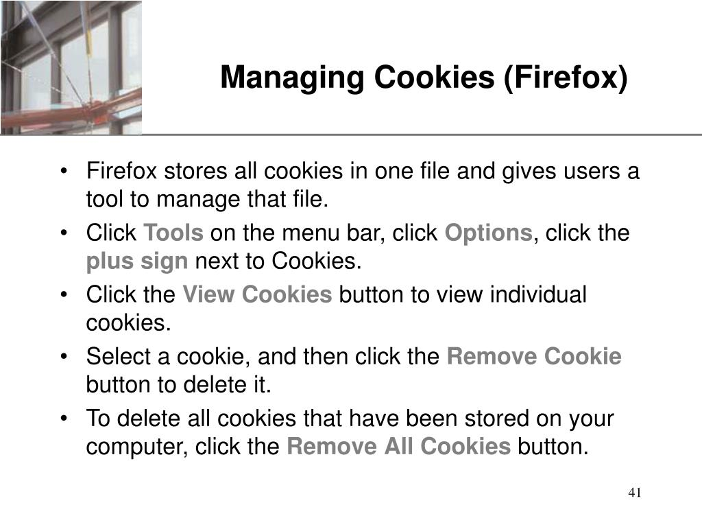 Managing Cookies (Firefox)