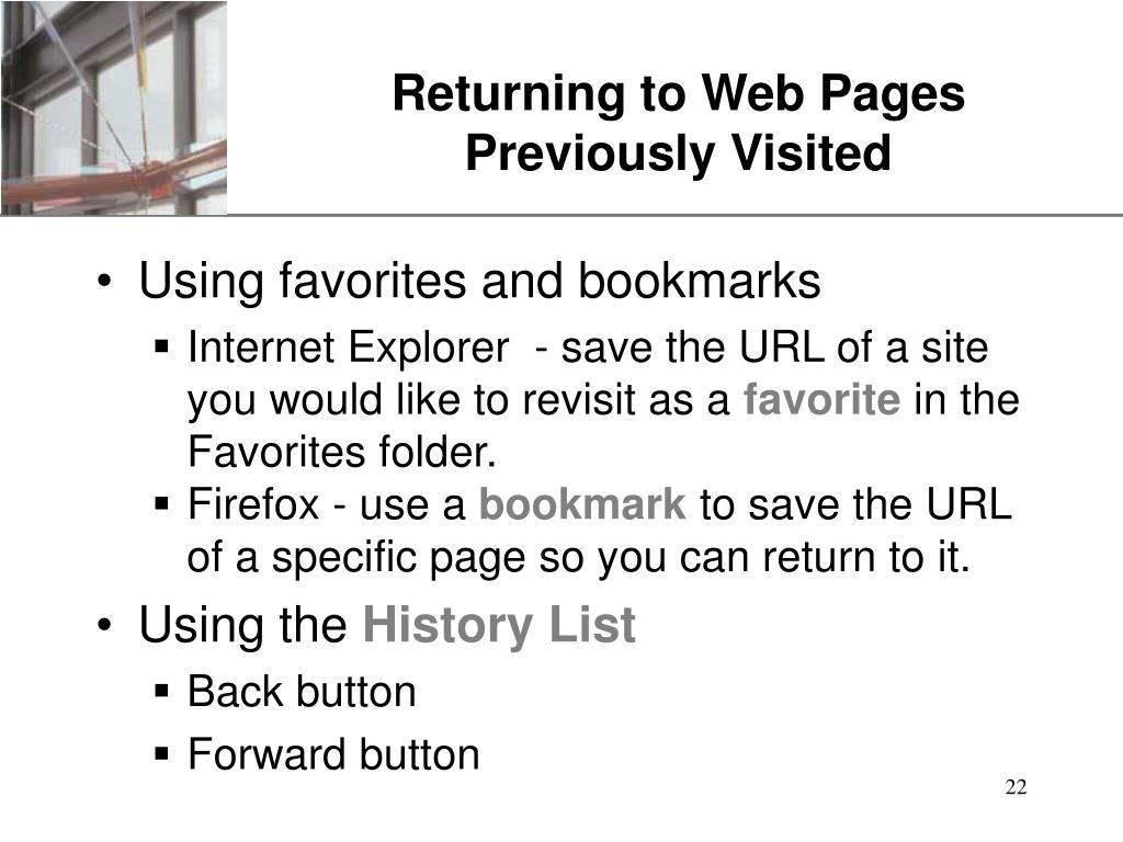Returning to Web Pages